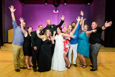Hill and Ashley with their family and friends cheering, Pensacola Waterfront Wedding, Ashley+Hill, Lazzat Photography