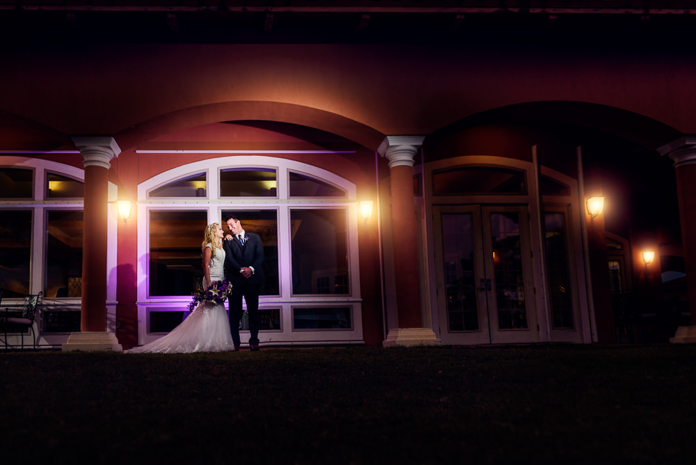 Bride leaning on her Groom outside, night photography, Star Wars Wedding in Scenic Hills Country Club, Lazzat Photography