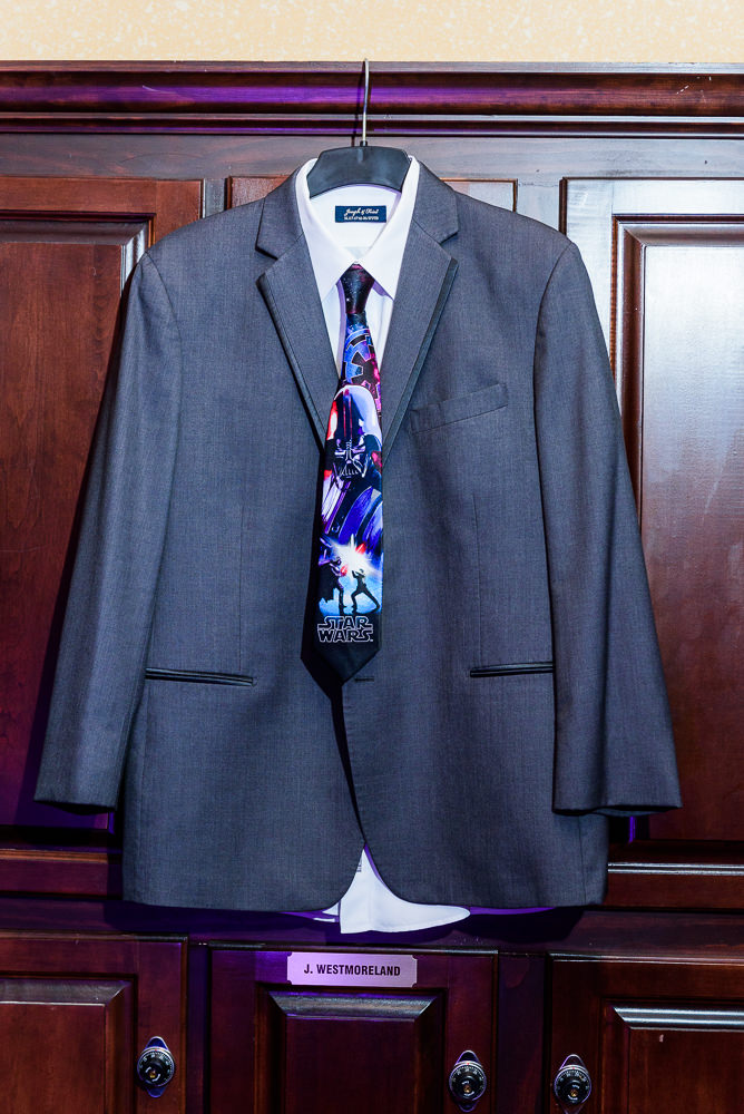 Groom's gray suit with star wars tie, Star Wars Wedding in Scenic Hills Country Club, Lazzat Photography
