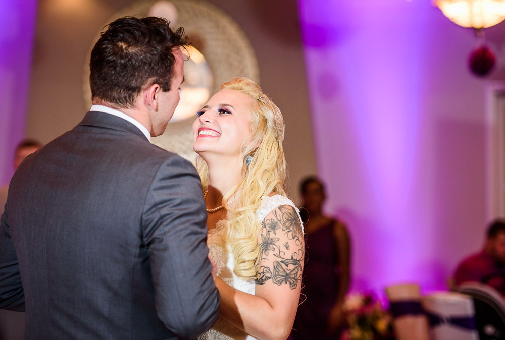 Bride laughing during their first dance, Star Wars Wedding in Scenic Hills Country Club, Lazzat Photography