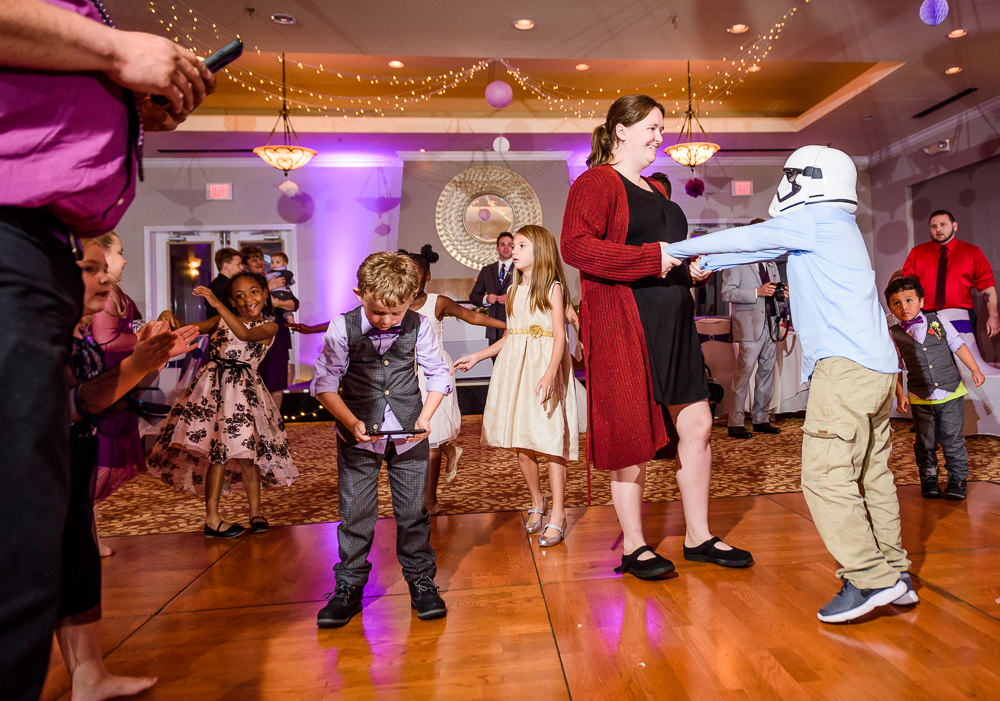 Guests dancing with stormtrooper helmet, Star Wars Wedding in Scenic Hills Country Club, Lazzat Photography