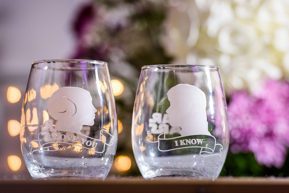 Bride and Groom's star wars wine glasses, Star Wars Wedding in Scenic Hills Country Club, Lazzat Photography