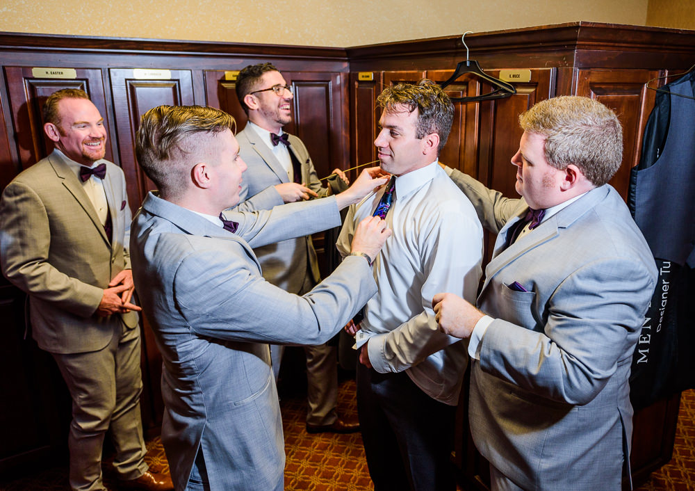 Groomsmen helping dress the Groom, Star Wars Wedding in Scenic Hills Country Club, Lazzat Photography