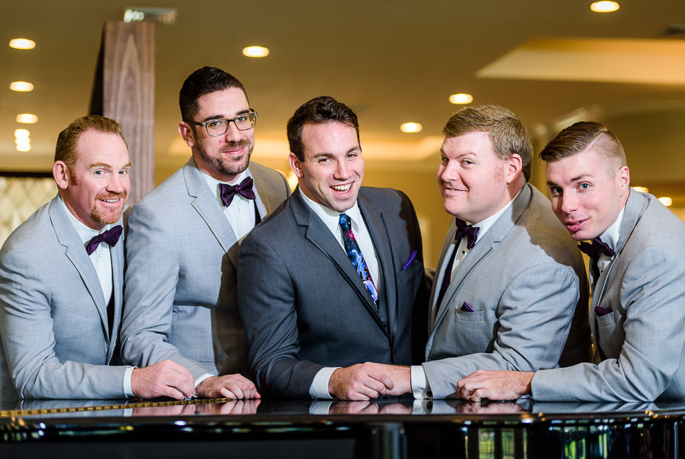 Groom and Groomsmen leaning on the piano, Star Wars Wedding in Scenic Hills Country Club, Lazzat Photography