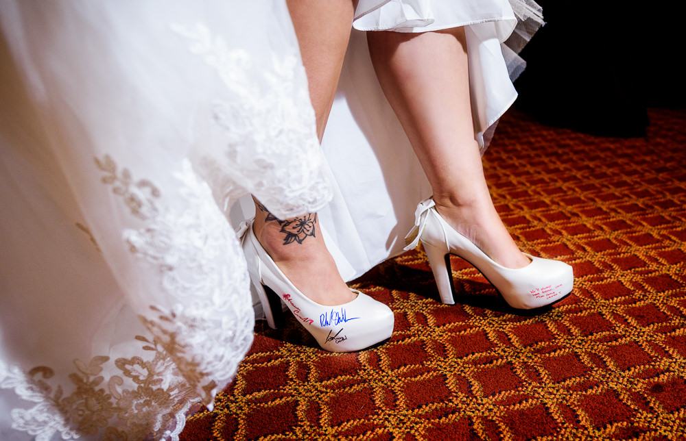 Bride's white wedding shoes signed by wedding party, Star Wars Wedding in Scenic Hills Country Club, Lazzat Photography