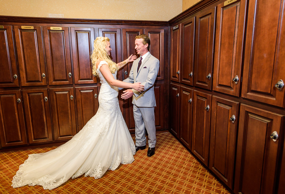 Bride and dad's first look, lace wedding dress, Star Wars Wedding in Scenic Hills Country Club, Lazzat Photography