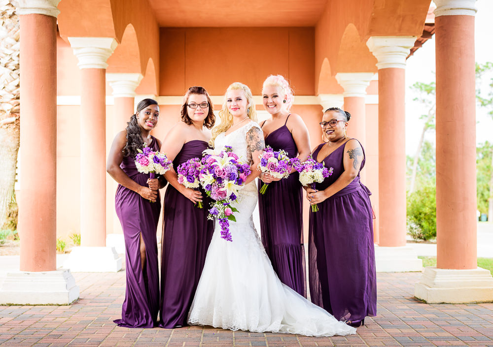 Bride and Bridesmaids smiling, purple and pink flowers, purple bridesmaid dresses, Star Wars Wedding in Scenic Hills Country Club, Lazzat Photography