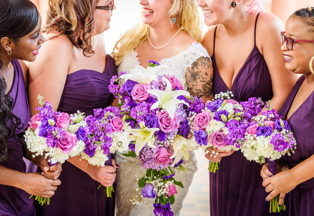 Close up of Bride and Bridesmaid's purple and pink flowers, purple bridesmaid dresses, Star Wars Wedding in Scenic Hills Country Club, Lazzat Photography