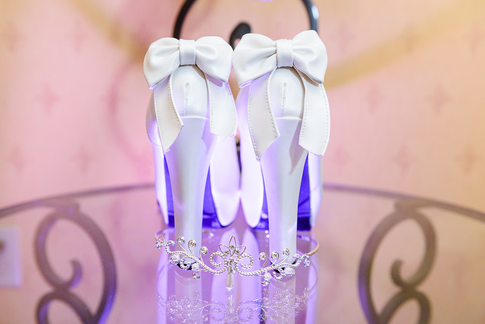 Bride's white wedding heels with bows and tiara, Star Wars Wedding in Scenic Hills Country Club, Lazzat Photography
