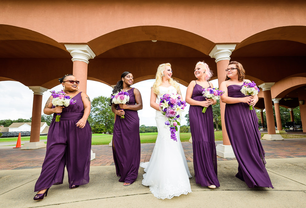 Bride walking with her Bridesmaids, purple bridesmaid dresses, Star Wars Wedding in Scenic Hills Country Club, Lazzat Photography