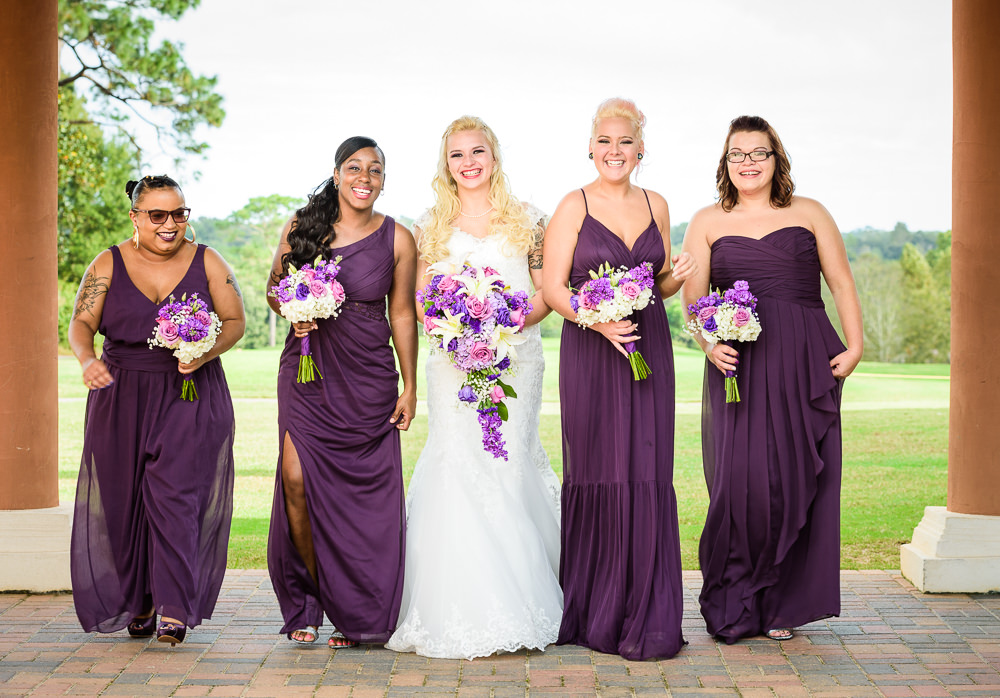 Bride with her Bridesmaids, purple bridesmaid dresses, Star Wars Wedding in Scenic Hills Country Club, Lazzat Photography