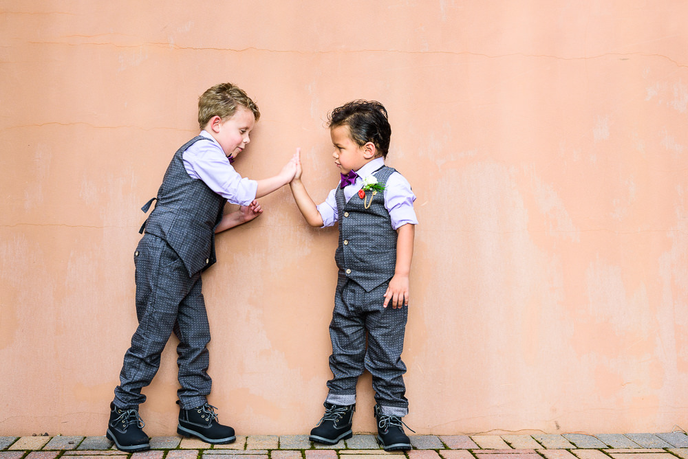 Ring bearers high fiving, Star Wars Wedding in Scenic Hills Country Club, Lazzat Photography