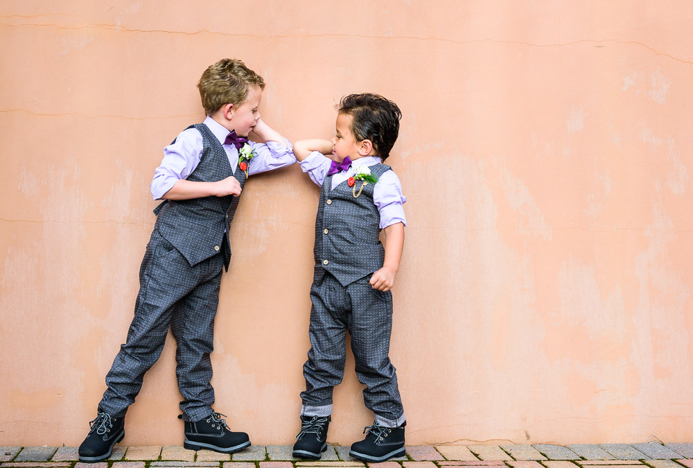 Ring bearers bumping elbows, Star Wars Wedding in Scenic Hills Country Club, Lazzat Photography