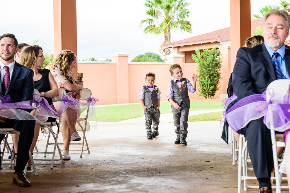 Ring bearers walking down the aisle, Star Wars Wedding in Scenic Hills Country Club, Lazzat Photography