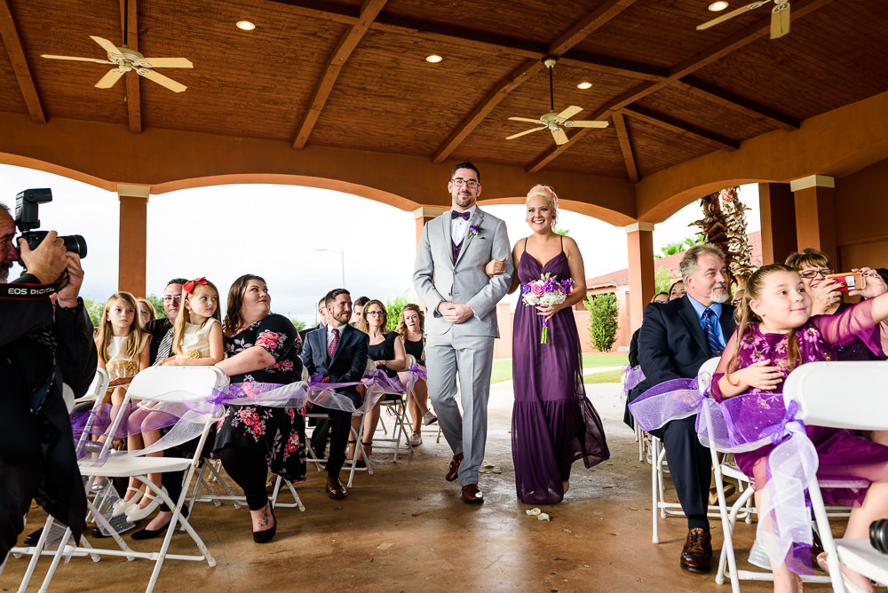 Maid of Honor and Best Man walking down the aisle, purple Bridesmaid dresses, Star Wars Wedding in Scenic Hills Country Club, Lazzat Photography