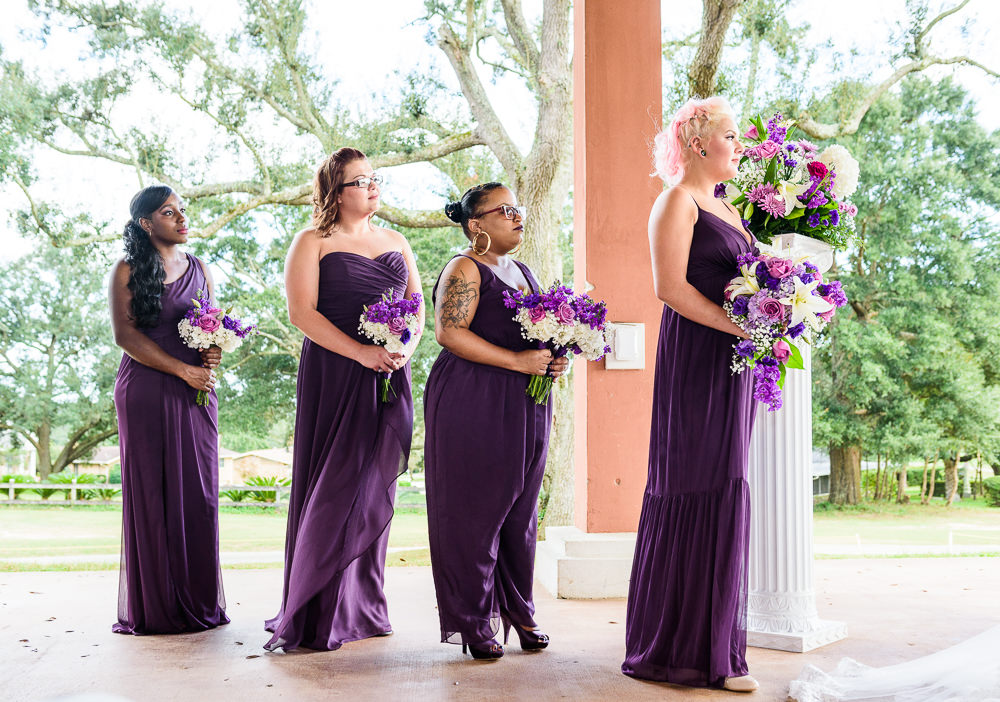 Bridesmaids standing during the wedding ceremony, purple Bridesmaid dresses, Star Wars Wedding in Scenic Hills Country Club, Lazzat Photography