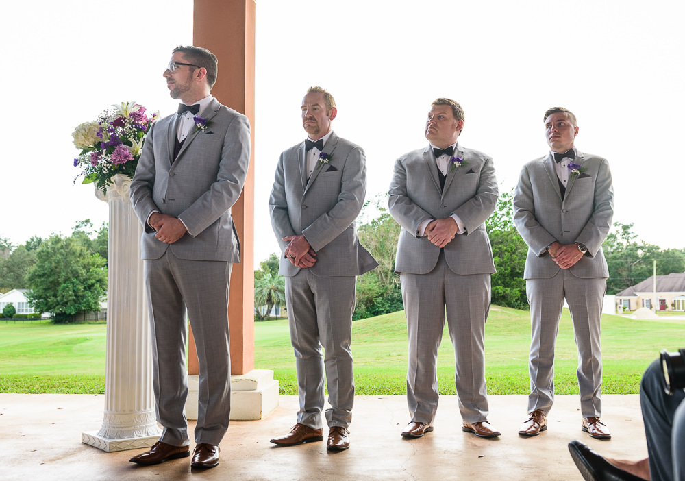 Groomsmen standing during the wedding ceremony, Gray suits, Star Wars Wedding in Scenic Hills Country Club, Lazzat Photography