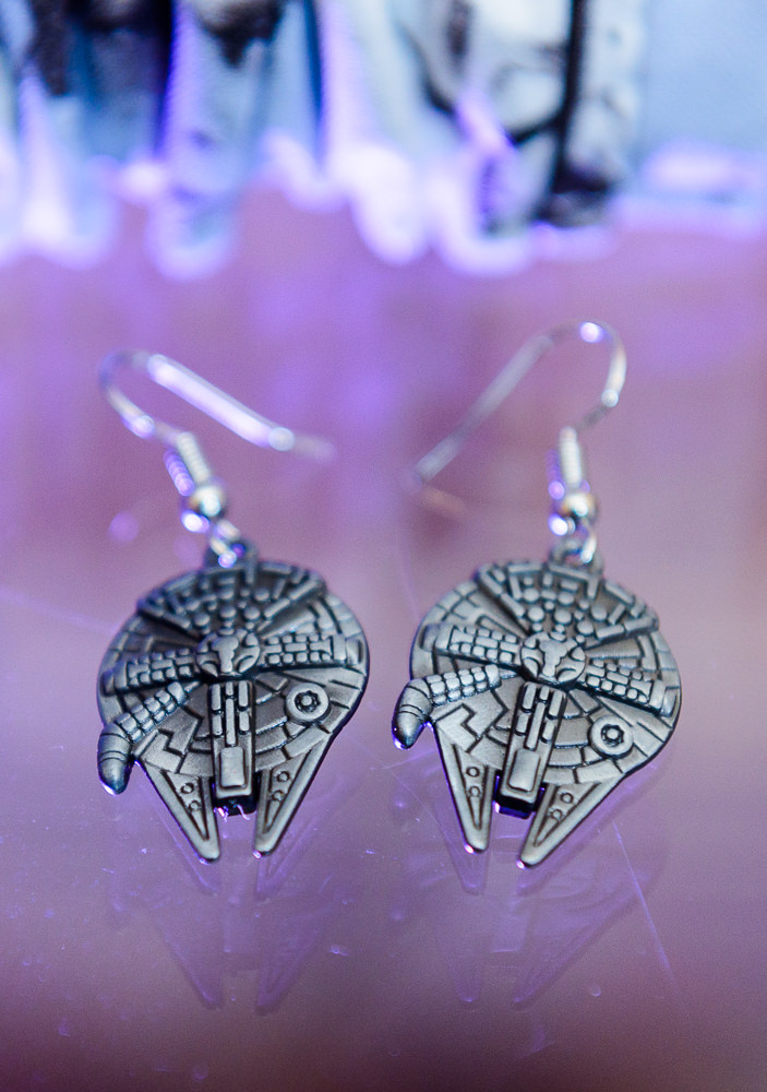 Bride's millennium falcon earrings, Star Wars Wedding in Scenic Hills Country Club, Lazzat Photography
