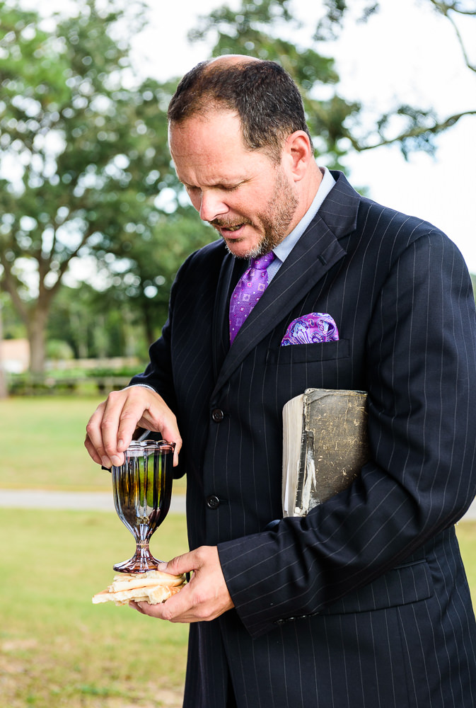 Officiant setting up communion during the wedding ceremony, Star Wars Wedding in Scenic Hills Country Club, Lazzat Photography