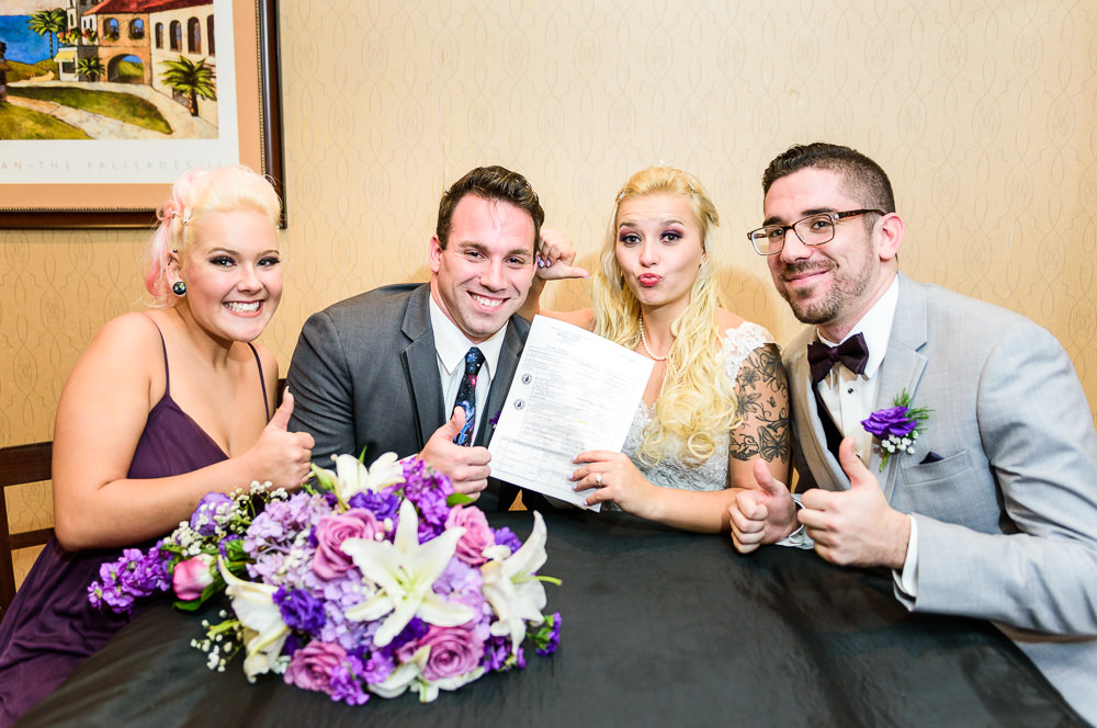 Bride and Groom with marriage certificate and witnesses, Star Wars Wedding in Scenic Hills Country Club, Lazzat Photography