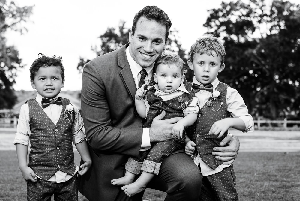 Groom with his sons, black and white, Star Wars Wedding in Scenic Hills Country Club, Lazzat Photography