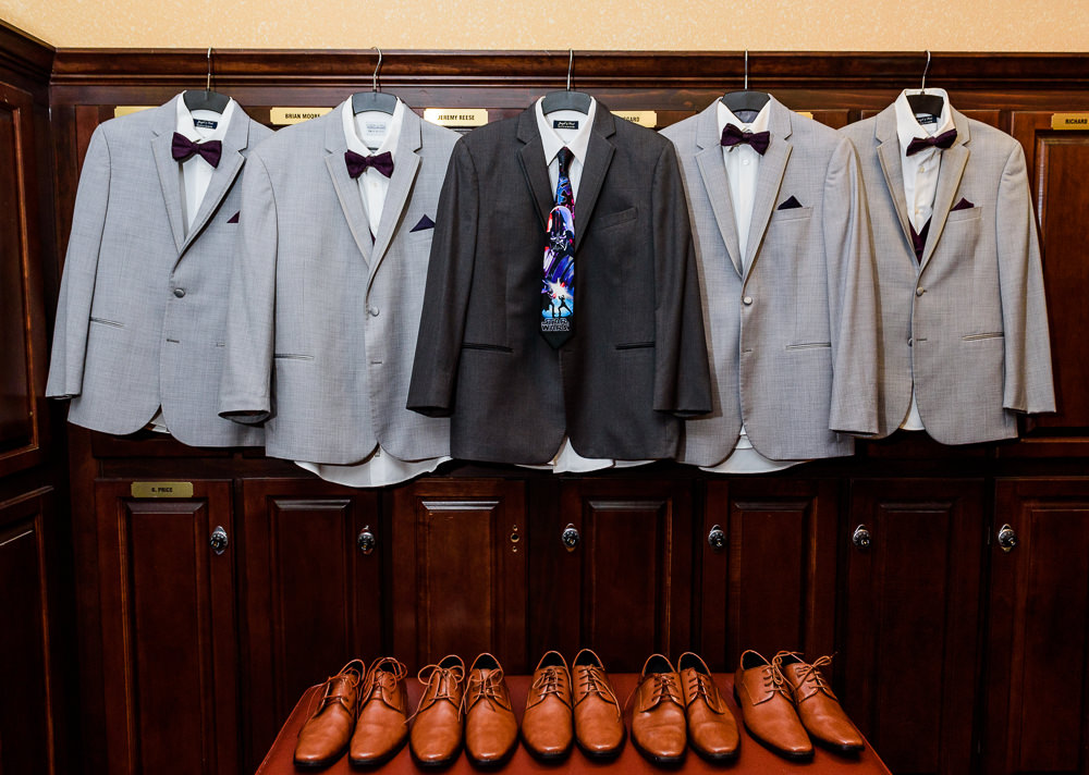 Groom and Groomsmen's gray suits and brown shoes, Star Wars Wedding in Scenic Hills Country Club, Lazzat Photography