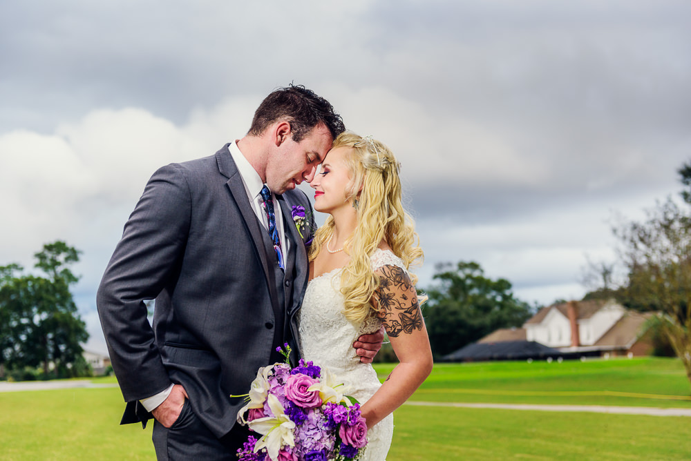 Close up of Bride and Groom head to head outside, Star Wars Wedding in Scenic Hills Country Club, Lazzat Photography