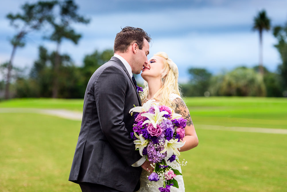 Bride and Groom almost kissing outside, Star Wars Wedding in Scenic Hills Country Club, Lazzat Photography