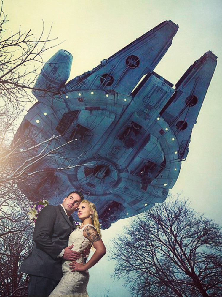 Bride and Groom outside under the millennium falcon, Star Wars Wedding in Scenic Hills Country Club, Lazzat Photography