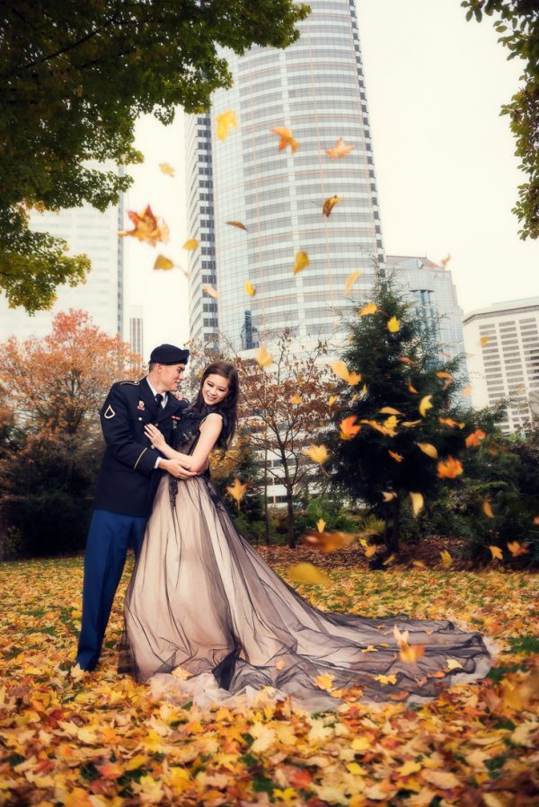 best wedding photographer Pensacola Orlando | creative imagery by Lazzat Photography | fall leaves falling | military | couple's session | engagement photos