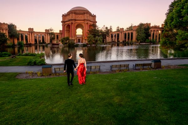 Natalie and Crockett walking away at the Epic Couple's Session at Palace of Fine Arts in San Francisco   Lazzat Photography