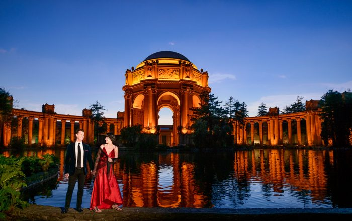 Natalie and Crockett looking at each other at the Epic Couple's Session at Palace of Fine Arts in San Francisco   Lazzat Photography