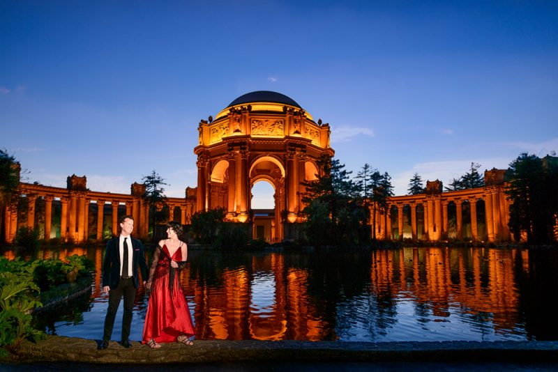 Natalie and Crockett looking at each other at the Epic Couple's Session at Palace of Fine Arts in San Francisco | Lazzat Photography