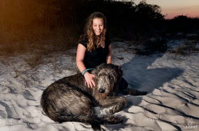 Irish Wolfhound with girl on beach at Fort Pickens during Epic Dog Photo Session in Florida, Lazzat Photography