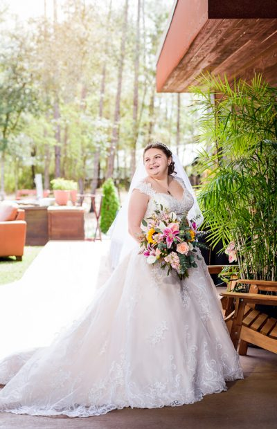 Bride's bridal portrait outside, Coldwater Gardens, Rustic Fairy Tale Wedding, Lazzat Photography