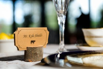 "Groom's ""Mr. Kyle Shields"" place card, Coldwater Gardens, Rustic Fairy Tale Wedding, Lazzat Photography"