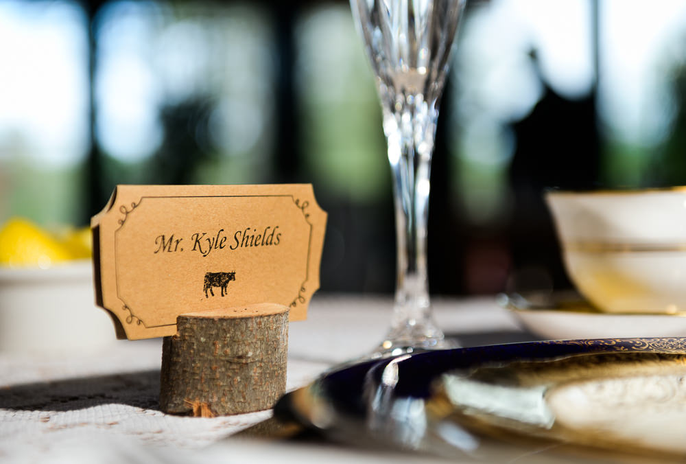"""Groom's """"Mr. Kyle Shields"""" place card, Coldwater Gardens, Rustic Fairy Tale Wedding, Lazzat Photography"""