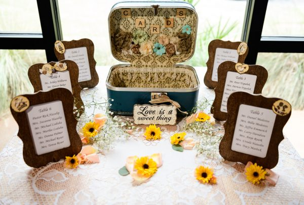 Bride and Groom's card table and seating chart, Coldwater Gardens, Rustic Fairy Tale Wedding, Lazzat Photography