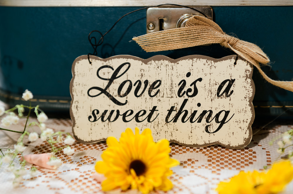 """""""love is a sweet thing"""" sign, Coldwater Gardens, Rustic Fairy Tale Wedding, Lazzat Photography"""