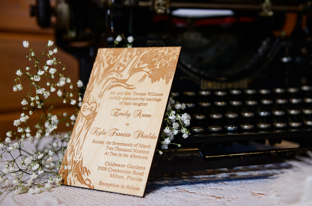 Bride and Groom's wooden invitation, Coldwater Gardens, Rustic Fairy Tale Wedding, Lazzat Photography