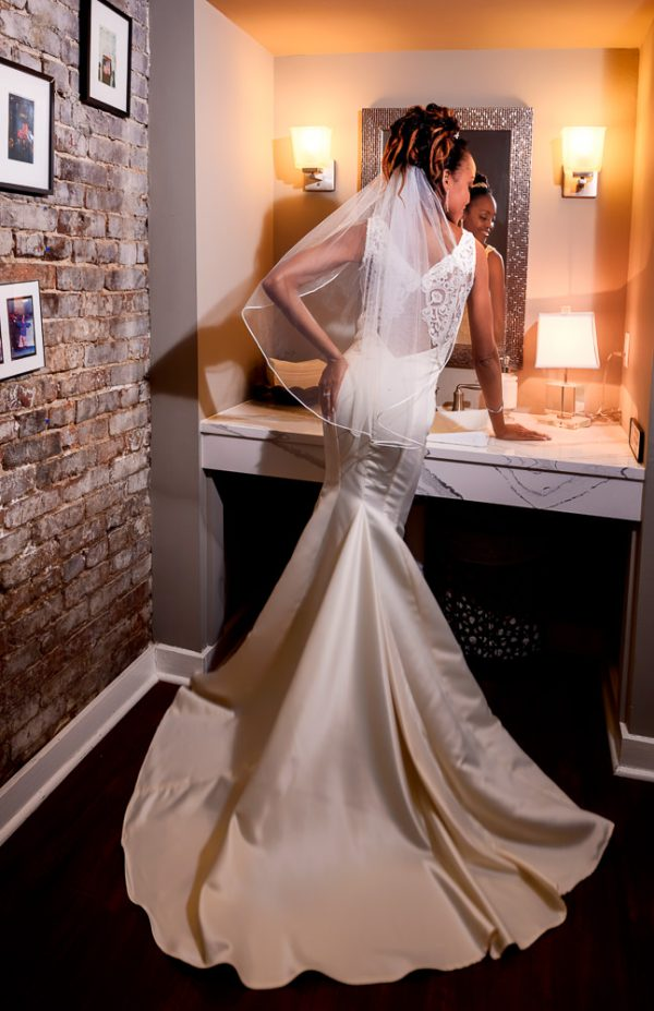 The back of Carla's reception gown, 5Eleven Palafox, Romantic Red Rose Wedding, Lazzat Photography