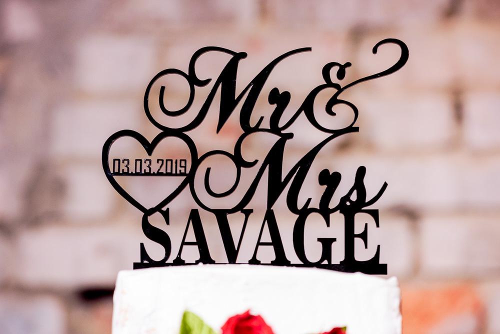 "Carla + Lorenzo's personalized cake topper ""Mr & Mrs Savage"", 5Eleven Palafox, Romantic Red Rose Wedding, Lazzat Photography"