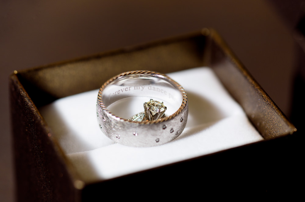 """Bride and Groom's wedding rings, Kyle's says """"forever my dance parter"""", Coldwater Gardens, Rustic Fairy Tale Wedding, Lazzat Photography"""