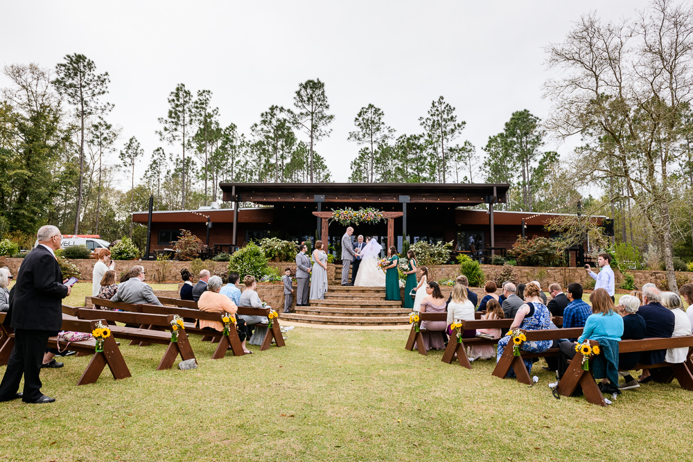 Full view of Bride and Groom's wedding ceremony, Coldwater Gardens, Rustic Fairy Tale Wedding, Lazzat Photography