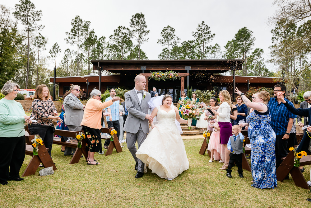 Bride and Groom walking down the aisle, Coldwater Gardens, Rustic Fairy Tale Wedding, Lazzat Photography