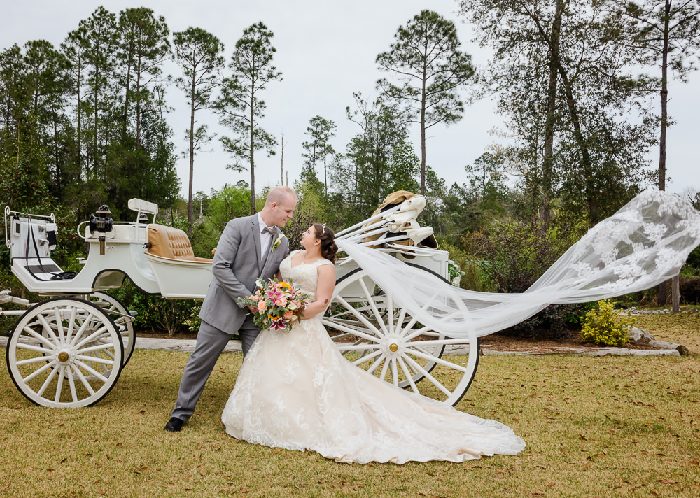Bride and Groom in front of their horse and carriage with Emily's veil blowing in the wind, Coldwater Gardens, Rustic Fairy Tale Wedding, Lazzat Photography