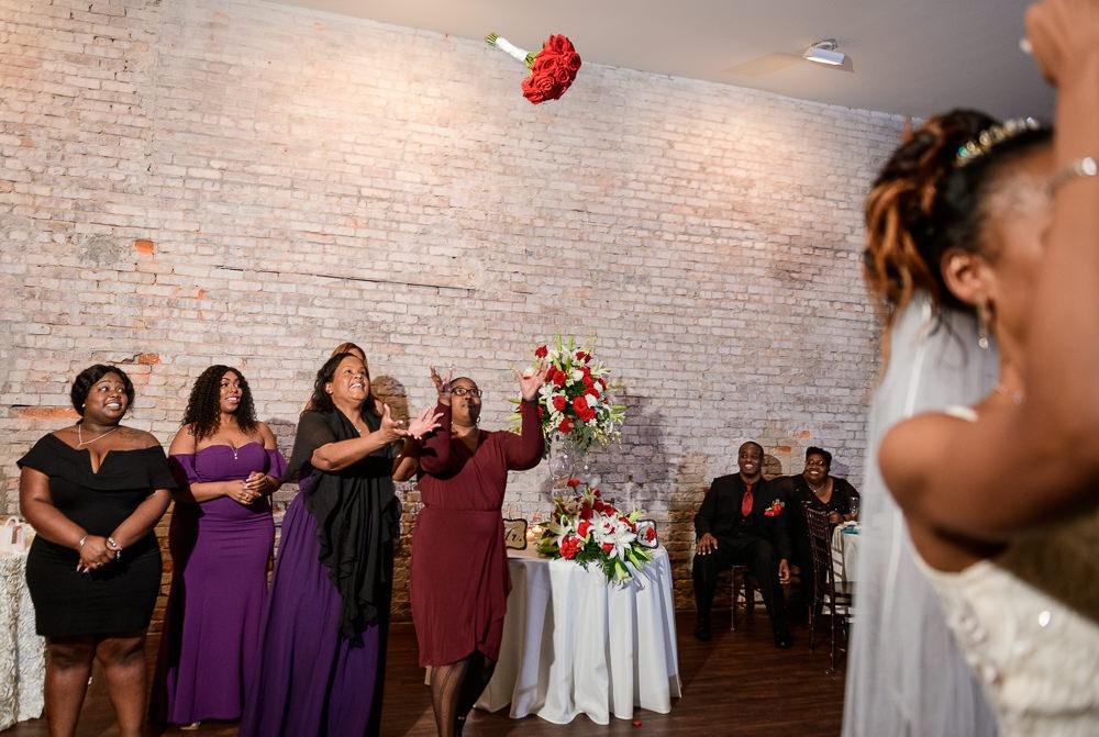 Carla's bouquet toss, 5Eleven Palafox, Romantic Red Rose Wedding, Lazzat Photography