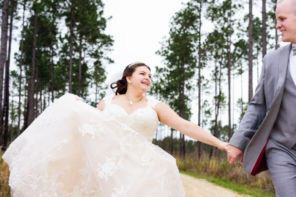 Bride and Groom running towards the camera, Coldwater Gardens, Rustic Fairy Tale Wedding, Lazzat Photography
