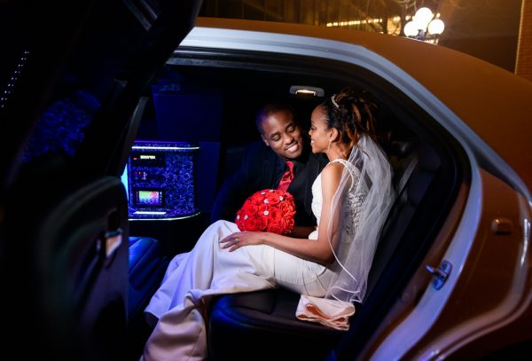 Carla + Lorenza inside their limo, Romantic Red Rose Wedding, Lazzat Photography