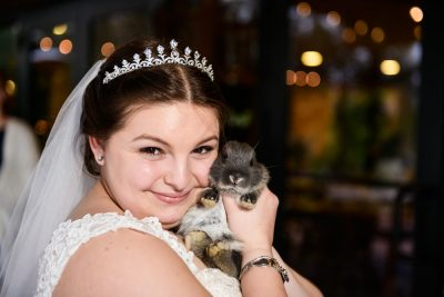 Bride holding a cute baby bunny, Coldwater Gardens, Rustic Fairy Tale Wedding, Lazzat Photography